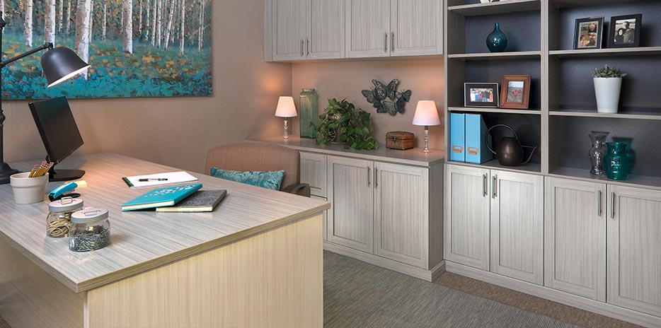 Custom Home Office Cabinets with Concrete Finish