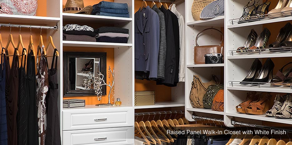 Raised Panel Walk-In Closet with White Finish
