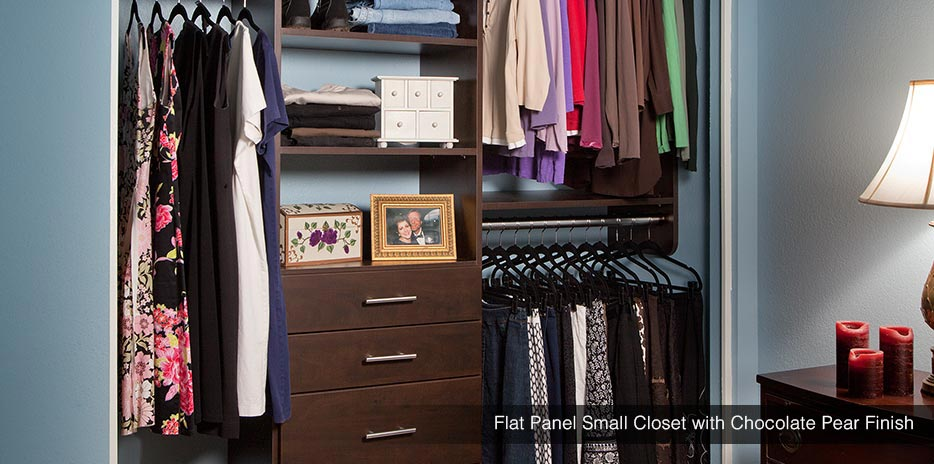 Flat Panel Small Closet with Chocolate Pear Finish - Kuna, ID