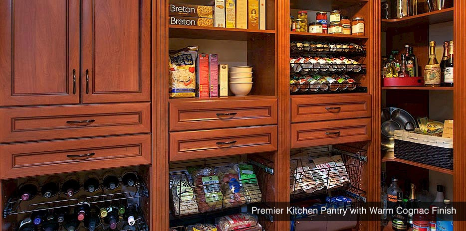 Premier Kitchen Pantry with Warm Cognac Finish