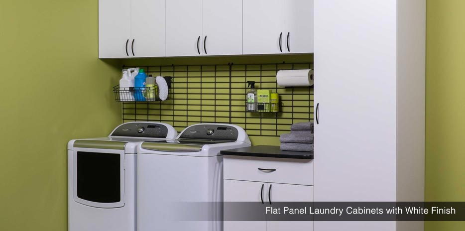 Flat Panel Laundry Cabinets with White Finish